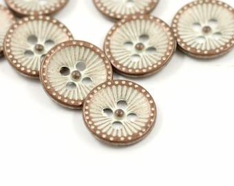 Metal Buttons - Copper White Dandelion Metal Buttons , Gunmetal Color , Hole , 0.47 inch , 10 pcs