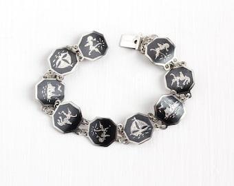 Vintage Sterling Silver Siam Niello Bracelet - 1940s Siamese Thai Black Hexagonal Panel Mekkala & Ramasoon Ramakien Sailboat Ship Jewelry