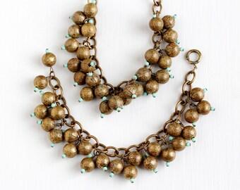 Vintage Art Deco Brass Matching Bib Necklace & Bracelet Set - 1930s Round Ball Drop Charms Teal Glass Beads Boho Unique Statement Jewelry