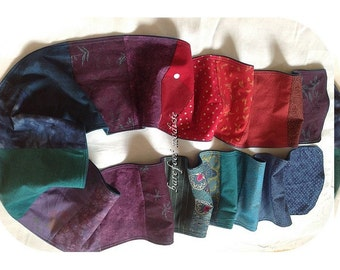 Jewel Patchwork Scarf, OOAK Bohemian neckwear,  Colorful Winter Spring Wear, Barefoot Modiste Handmade, Boho Gypsy Clothing, Hippie Threads