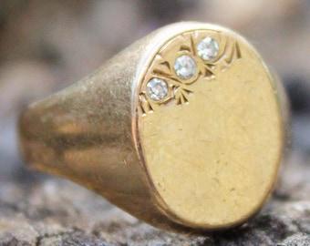 9ct Ring Yellow Gold Diamond Mens Jewellery Signet Sz R Vintage 9K 9 Carat Gift Mens Ring Signet Ring Mens Gold Ring Mens Jewellery