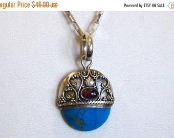 WINTER SALE Vintage Sterling Silver Amethyst Blue Turquoise Filigree Necklace Pendant