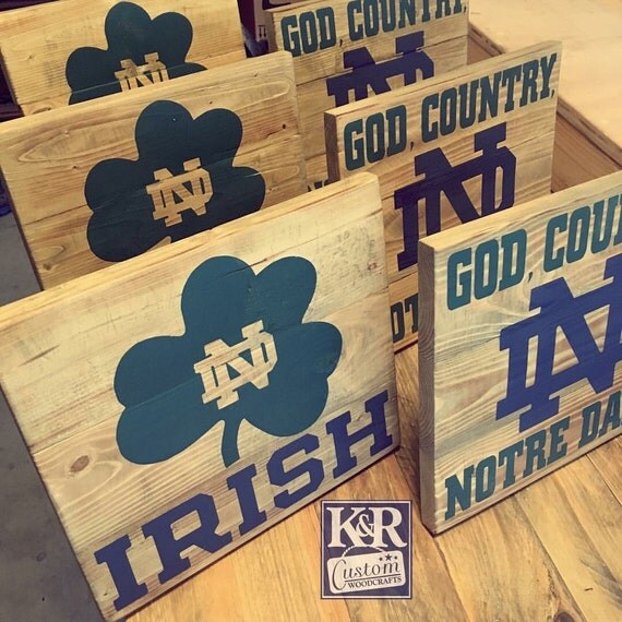 Notre Dame Sign Fighting Irish Painted Distressed Barnwood
