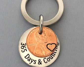 Anniversary Gift - Anniversary Gift For Men - Personalized KeyChain - Stamped Penny KeyChain - Days & Counting Keychain