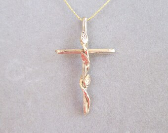 Cross Pendant -- 14K Gold with Leaf and Vine Design