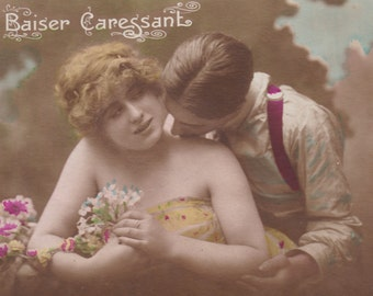 Caressing Kiss, Couple's Romance French Postcard, circa 1918