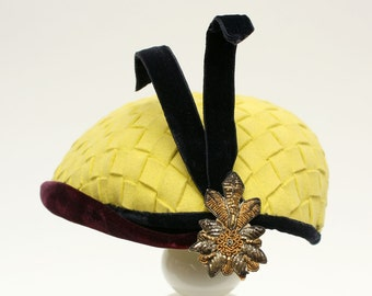 vintage 1950s yellow woven wool and velvet hat