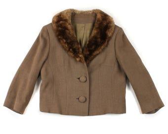 vintage 1960s jacket with fur collar • brown mocha wool