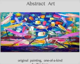 "Sale Original Art painting huge Impasto Texture modern oil painting  Abstract Painting on gallery wrap linen canvas by Tim Lam 48""  x 24"""