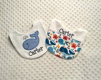 Personalized Baby Boy Bibs - Set of 2 Nautical Themed Terry Cloth Bibs