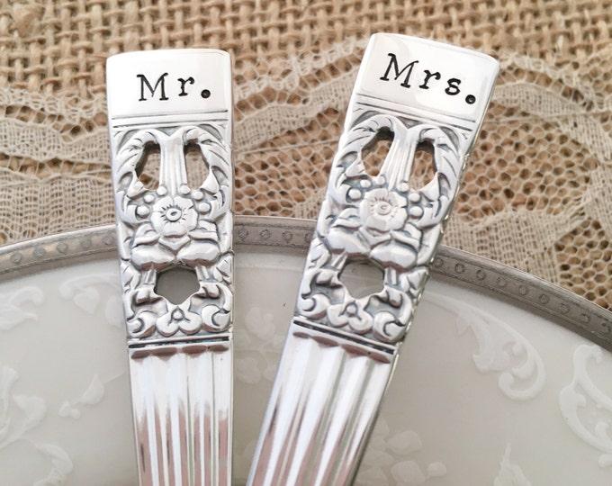 """Vintage hand stamped 'Mr & Mrs' cake forks, """"coronation"""""""