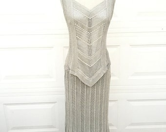 Vintage 1970s 1980s metallic silver gold mesh crochet woven too and skirt set by Damianou size S M