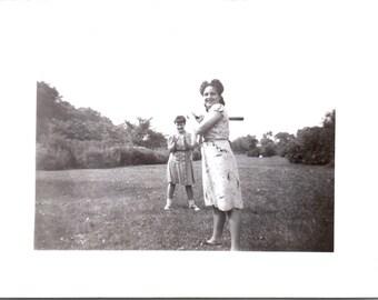 Vintage Photo - Girl With Baseball Bat - Vernacular, Found Photos, Black and White (A)