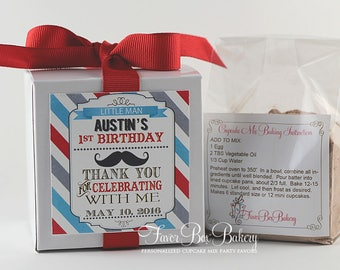 LITTLE MAN ... One Dozen (12) Personalized Cupcake Mix Birthday Party Favors