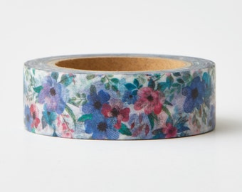 Teal Blue Floral Washi Tape- Turquoise floral- masking tape -blue floral- pink floral-Love My Tapes