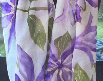 Clematis hand painted silk scarf.  Pale purple Clematis silk scarf