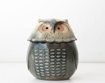 Vintage Stoneware Pottery Owl Incense or Votive Candle Holder