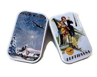 German Lufthansa Airlines Memorabilia / Pair of Vintage Tin Metal Candy Boxes - German Candy Tins
