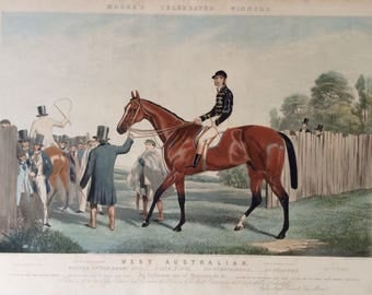 WESTERN AUSTRALIA - Winner of 1853 ENGLISH Derby - British Horse Racing Engraving.