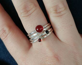 Carnelian Onyx and Garnet Stacking Rings Set of 4