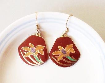 Laurel Burch earrings, Laurel Burch dangles, Laurel Burch flowers, enamel flower earrings, Vtg Laurel Burch, Lotus Flower earrings