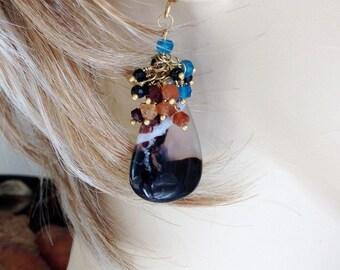 "Black Cream Sardonyx Slab Gemstone w/ Neon Apatite Hessonite, Black Spinel, Moonstone Wire Wrapped Earrings -  2 1/8"""