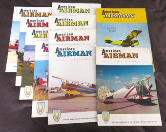 AMERICAN AIRMAN , 10 Issue Lot, 1958 1960, Vintage Magazines Antique Airplane Assoc, Aviation Sport Clubs of America, Flying, Old Planes