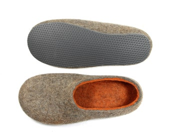 Unisex Wool Shoes Gray Orange, Felted Wool Slippers Color Blocking, Minimalist Shoes, House Shoes,  5 Colors Rubber Soles, Mix and Match