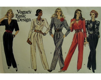 V-neck 80s Jumpsuit Pattern, Straight legs, Wrap Bodice, Jewel/Cowl Neck, Side Pockets, Long/Short Sleeves, Vogue 2188 UNCUT Size 8 10 12