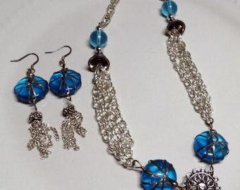 Blue Wrapped Disc Jewelry Set