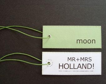 Bespoke Honeymoon luggage tag set in Minimalist Design for the Urban Newlywed Couple. Handmade in Europe.