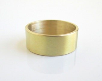 Solid Brass Band / Gold Ring - Slight Brushed Texture, Size 7 1/2