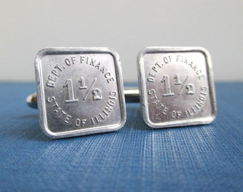 State of Illinois Token Cuff Links - Repurposed Vintage Coins / Dept. of Finance Tax Tokens