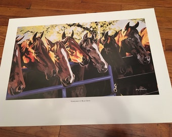 Jerry McAdams Art Print Yearlings At the Blue Gate