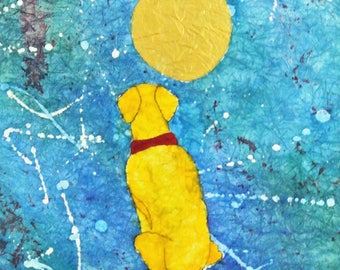Yellow Labrador Retriever ORIGINAL BATIK watercolor painting, dog art 16x20 already matted, blue and gold colors