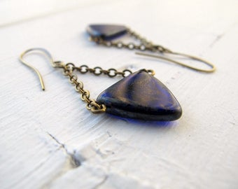 Navy Blue Nautical Earrings, Beach Flag Pennant Earrings, Czech Glass Jewellery, Dark Blue Triangle Dangle Earrings, Boho Beach Dangles
