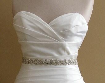 Bridal Sash, 28 Inch Wedding Dress Belt, Beaded Crystal Belt, Jeweled Rope Belt,  Rhinestone Rope Sash, Crystal Wedding Sash, No. 5040S-28