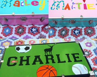 Personalized Hand Painted Camp Trunks Decorated Camp Lockers