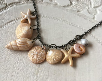 Ocean Beach Themed Necklace Personalized with letter, Seaside Wedding, Bridesmaid Beach, Seaside Wedding Bride, Shell, Starfish, Pearl