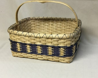 Hand Woven, Rectangular, Double Wall Basket with Navy Blue Accent Weaving