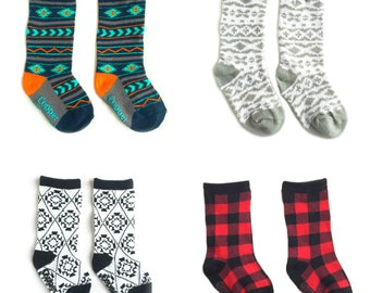 Baby and toddler knee high socks package of 4 Baby socks that stay on Aztec prints baby shower gift baby gift nordic print patterned socks