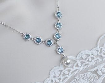 Bridal Necklace, Aquamarine and White Cubic Zirconia Bridal Necklace, Swarovski Pearl and CZ Bridal Necklace, Bridesmaids Necklace Gift,