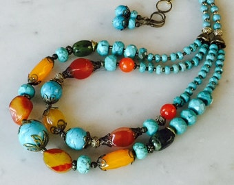 Blue turquoise chunky necklace earrings set, multi color, teal turquoise, red jasper, yellow agate, vintage style brass, big bold, gift idea