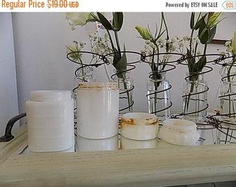 4 Antique Milk Glass Jars - Milkglass Cosmetic Jar Retro Cottage Chic