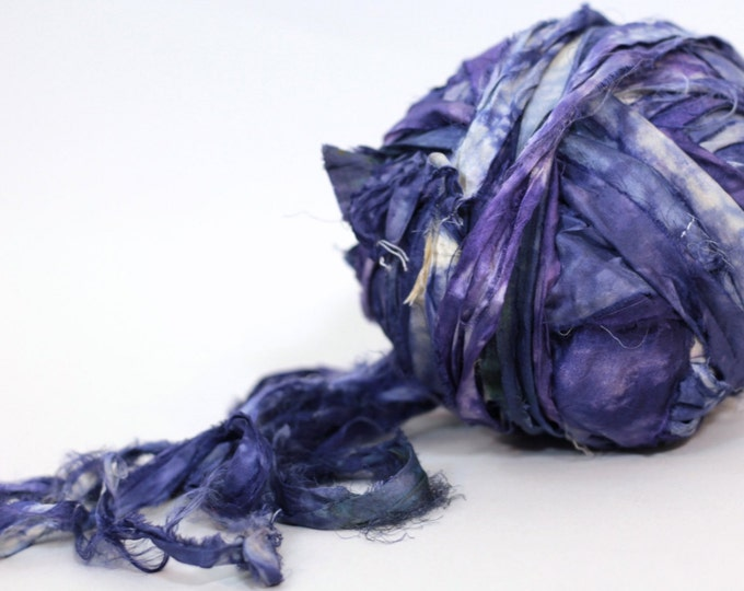 """Recycled Sari Ribbon ,by the yard, """"Inky Moon"""" hand dyed chiffon ribbon, jewelry making, doll clothing, spinning supplies"""