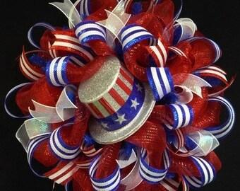 10% OFF RWB Memorial or Labor Day Wreath, 4th of July, Veterans Day, Rwb, Poly Mesh Wreath (781)