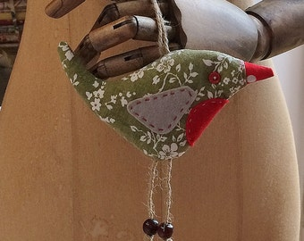 Christmas Robin in White and Green Floral Vintage fabric , a great Xmas Stocking filler