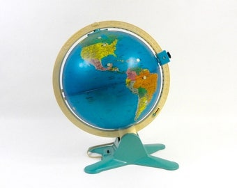 Vintage Lighted World Globe with Image Viewfinder, Fisher Price, c.1988