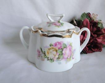 RARE ANTIQUE Lidded Sugar Bowl Zeh Scherzer & Co. Bavaria Roses Large