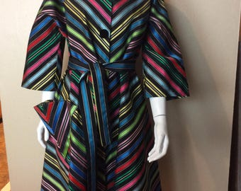 Vintage 1950s Candy Striped Maxi Swing Coat Absolutely Gorgeous and Flawless!! XL